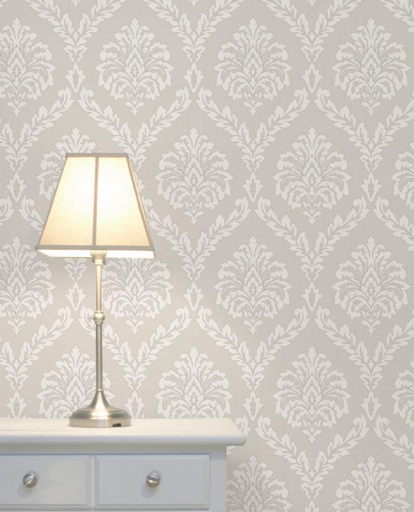 Fine Decor Cavendish Damask Stone FD40987 Wallpaper